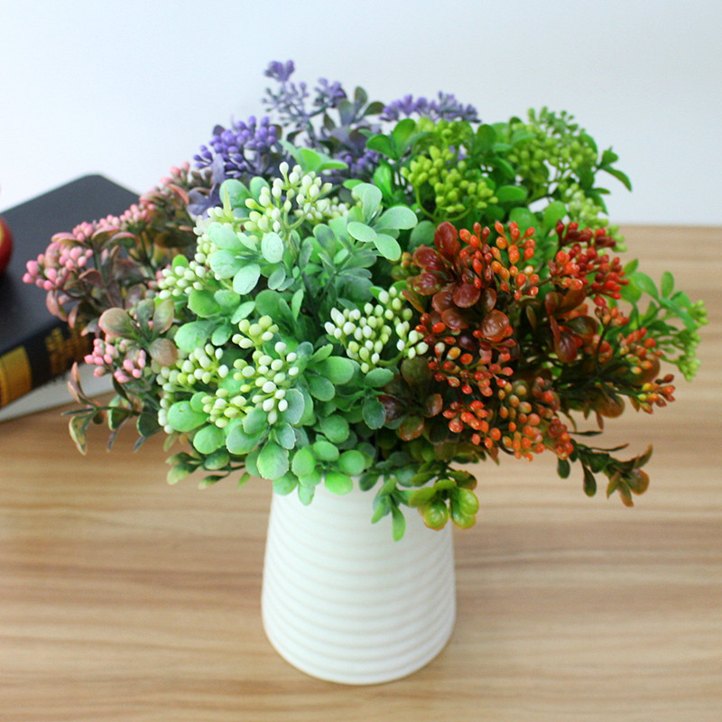 Artificial Plastic Branch Flower Wedding Home Decor Garden Artificial Plants Fake Plastic Milan Grass Foliage Plant Tree (10)
