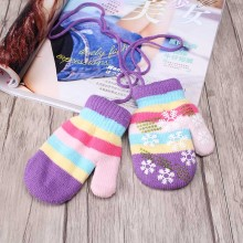 New Children Covered Finger Halter Gloves Kid Winter Warm Snowflake Knitted Mittens Girl's Lanyard Stretchy Casual Crochet Luvas(China)