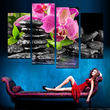 Unframed 4 Panels Purple Flowers black stone Picture Canvas Print Painting Artwork Wall Art Canvas Painting HD Print F1765 modul