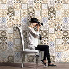 European style Imitation ceramic tile Floor Wall Sticker Living Room Kitchen Bathroom Imitate Tile Floorboards Wall Stickers(China)