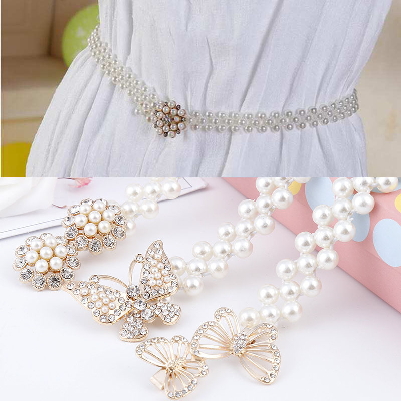 Ladies Elastic Waist Belt with Pearl Beaded Bow Womens