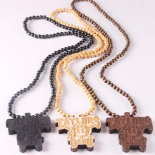Fashion Jewelry TAYLORS GANG Rock rick Ross Face Pendant Wooden Rosary Beaded Chain Necklaces