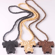Fashion Jewelry TAYLORS GANG Rock rick Ross Face Pendant Wooden Rosary Beaded Chain Necklaces(China)