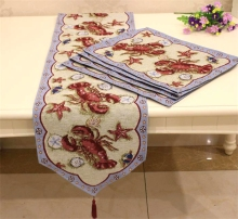 Hot table runner mats Embroidery tablecloth Decorative Decor home exquisite lobster Coaster Tassel Harvest printing purple XM