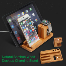 LEPHEE for iPhone 7 Plus iPad Bamboo Phone Holder Desktop Charging Docking Station Charger Wood Stand for Apple Watch One plus 5