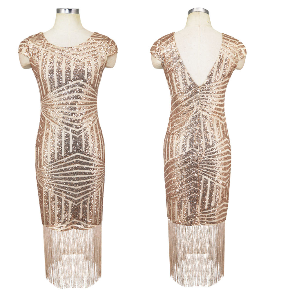 Women Party Dress Robe Femme 1920s Great Gatsby Flapper Sequin Fringe Midi  Dress Vestido Summer Art Deco Retro Gold Dress  8f13c1733947