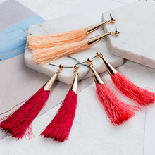 Buy Drop tassel earrings women Vintage Charm 10 color Tassel Long Drop Earring Wedding Party Earrings Women Fashion Jewelry for $0.99 in AliExpress store