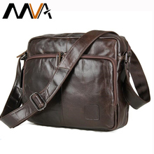 MVA Genuine Leather bag Men Messenger Bags Casual Multifunction shoulder Crossbody Bags Handbags iPad Holder men leather bag(China)
