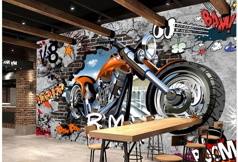 Home Decoration wallpaper for painting Motorcycle street art graffiti 3d murals wallpaper for living room <br><br>Aliexpress