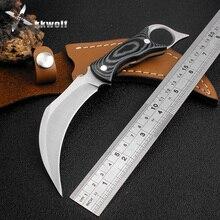 Sharp tactical karambit Knife Mikata handle Cowhide sheath outdoor Camping hunting knives survival Folding Knife EDC tool