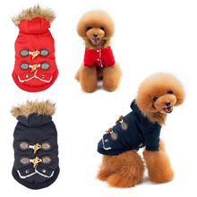Buy Puppy Warm Jacket Fall Winter Dog Coat Thicken Horn Button Outfit Pet Clothing Faux Fur Neck Dogs Clothes Pets Supplies for $8.07 in AliExpress store