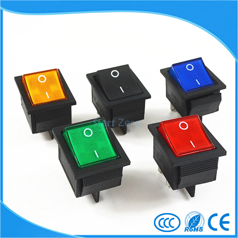 Latching Rocker Switch Power Switch I/O 4 Pins With Light 16A 250VAC 20A 125VAC KCD4<br><br>Aliexpress