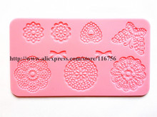 Free Shipping Fondant Cake Silicone Lace Mold Lace Tool Sugar Paste Sugar Art Tools Cake Decoration Style 11 Wholesale & Retail