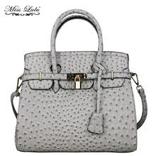 MISS LULU Women Designer Leather Padlock Handbag Ladies Boston Ostrich Tote Girls Cross Body Shoulder Bag YD1413T