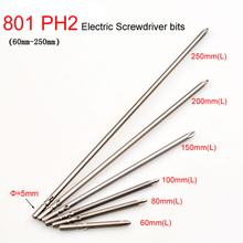6pcs/lot 801 5mm Round Shank Magnetic Phillips Cross Electric PH2 Screwdriver bits 60mm 80mm 100mm 150mm 200mm 250mm length