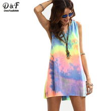 Dotfashion Ladies Summer Style Multicolor Tie-dye V Neck Sleeveless Knotted Shift Dress Hollow Out Shift Mini Dress(China)