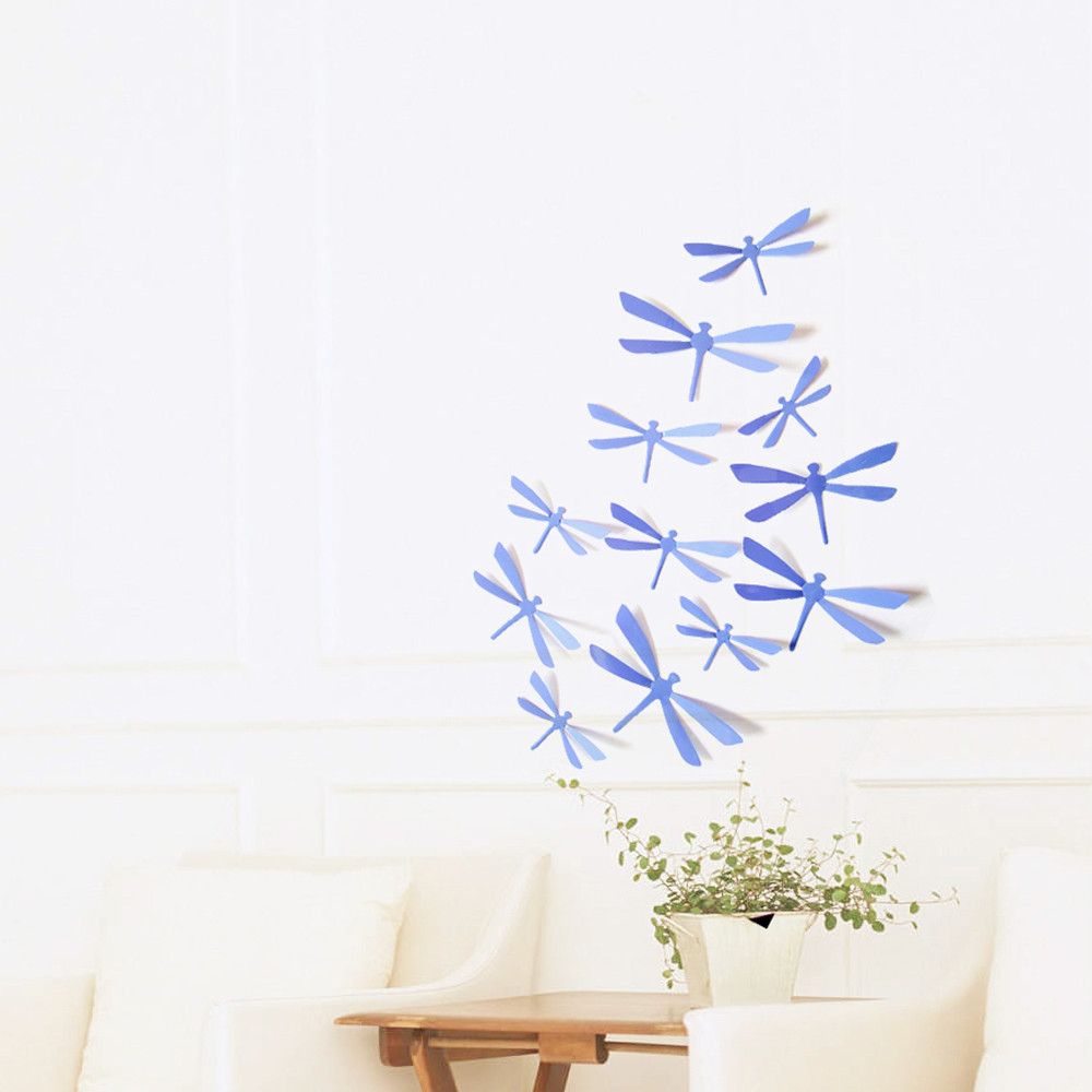 12pcs 3D DIY Decor Dragonfly Home Party Wall Stickers PVC Art Decal High Quality New Designed Branded New Arrival Funny Decor