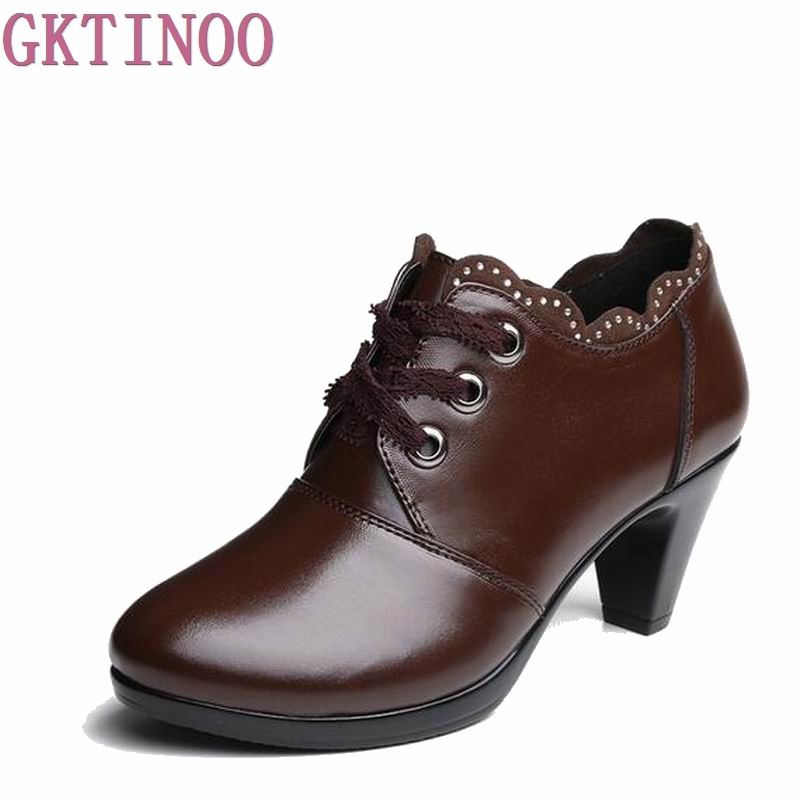 2017 Spring Autumn Women Boots High Quality Solid Lace-up European Ladies genuine Leather Shoes Fashion Boots Women Ankle Boots<br>