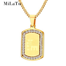 MiLaTu Men Women Medical Necklaces & Pendants Stainless Steel Cubic Zirconia ID Necklace Male Jewelry Gift NE259G(China)