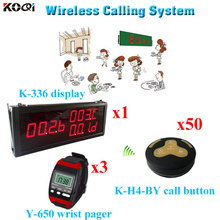 Wireless Pager System Wrist Watches Electronics Equipment Service Waiter Calling Bell(1 display 3 wrist watch 50 call button)