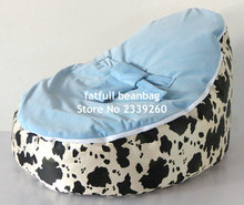 COVER ONLY, NO FILLINGS - cow design baby bean bag chair with blue top layer, kids sleeping beanbag pods(China)
