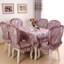 European lace floral photo printing cotton tablecloth set suit 130*180cm table cloth matching chair cover 3 colors 1 set price