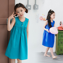 Children's Clothing 2017 Summer New Girl Casual Dress Cotton Sleeveless Princess Dress Blue Green Orange Tricolor 3-14 Years Old