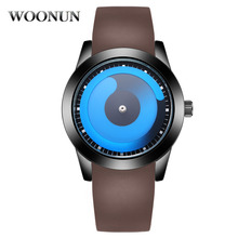 New 2017 Fashion Blue Ocean Style Sports Watch Mens Watches Top Brand Luxury Silicone Strap Quartz Watches Relojes Hombre WOONUN(China)