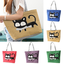 Special Cartoon Cat Fish Canvas Handbag Preppy School Bag for Girls Women's Handbags Cute Bags