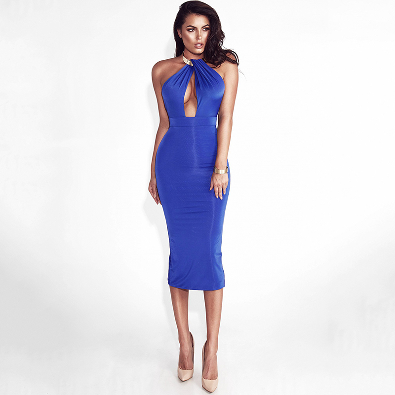Articat Hollow Out Party Bodycon Bandage Dress Women 17 Off Shoulder Choker Long Pencil Dress Sexy Backless Split Winter Dress 9