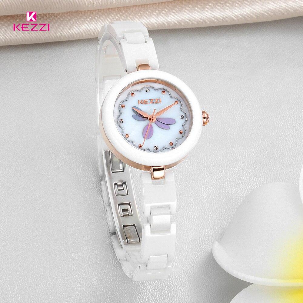 Kezzi Brand Women White Ceramic Watch Dress Wristwatch Rhinestone Bracelet Quartz Watch Waterproof Clock Ladies relojes hombre<br><br>Aliexpress