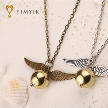 YimYik Popular Harry Necklace Vintage Style Angel Wing Charm Golden Snitch Pendent Necklace For Men Necklace Chain(China)