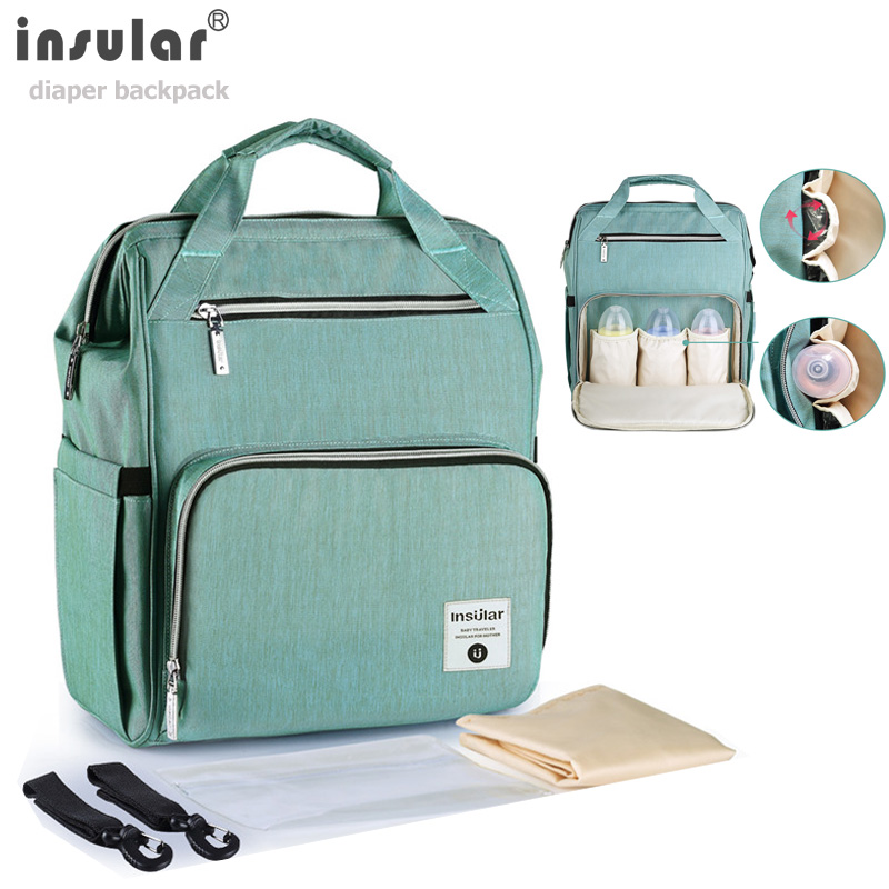 Insular Large Capacity Baby Diaper Bag Solid Color Maternity NappyBackpack Bebe Nursing Bags For Mummy Travel Bolsa Maternidade
