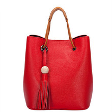 New Fashion Band cow leather women bucket bag Female shoulder bags bolsos Casual string tassel red totes lady shopping handbag(China)