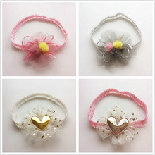 1 Pcs Fashion Chiffon Flower Hairbands Toddlers stars Headwear girls Lace grey gauze Flower heart Hair Hoop Hair Accessories D67(China)