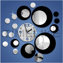 2017 3d clocks circle 3D crystal clock design new diy acrylic mirror Quartz wall clock mirror sticker DIY decor wall clock(China)
