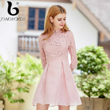 FINEWORDS 2017 Autumn Winter vestidos Princess Sweet Cute Pink Lace Dress Women Elegant Lady Party Organza Short A-Line Dresses(China)