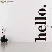 Hello Wall Decal Quotes - Hello Door Decal Welcome Wall Stickers - Hello Wall Quote Stickers Home Decor - Simple Design Style(China)