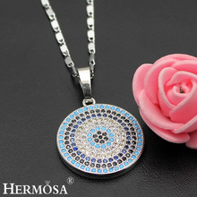 Fashion Round Nano Jewelry 925 Sterling Silver Pendant Necklace 17'' Party Wedding Special Gift(China)