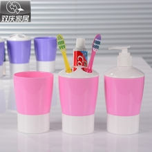 plastic bathroom set high quality bathroom products three-piece set gift box  toothbrush holder distributeur bath set