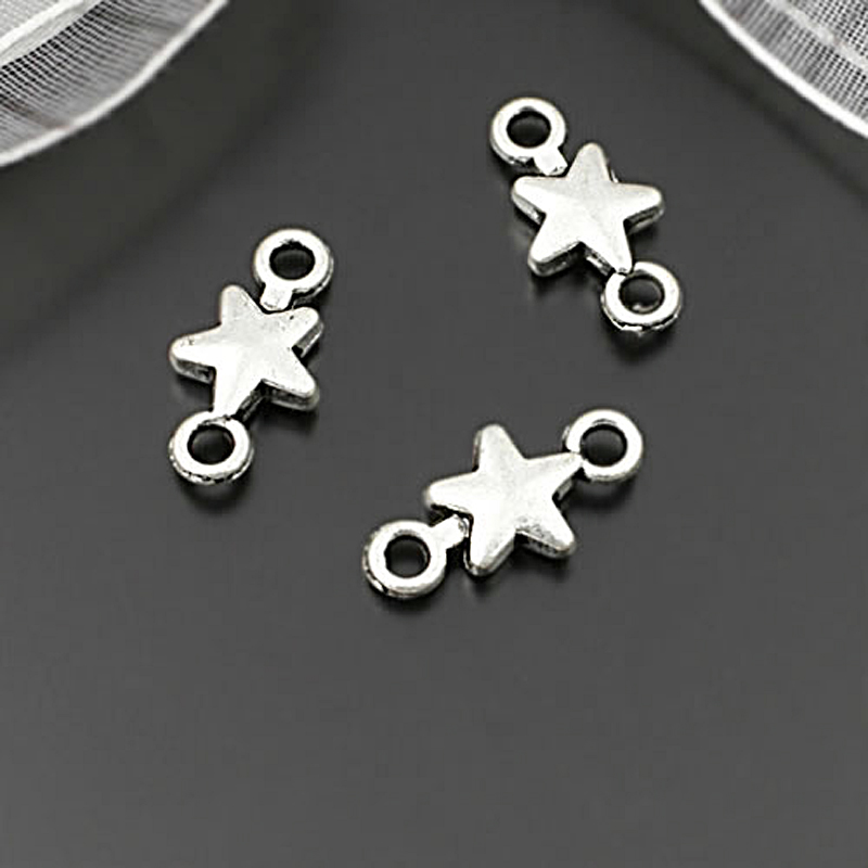100PCS 10x5.5MM Zinc Alloy Small Heart Connect Charms Diy Jewelry Accessories