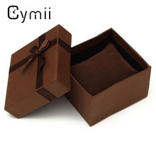 Cymii Square Shaped Present Gift Paper Box Case For Jewelry Watch Box Packing With Pillow Brown 8.5 x8.3x5.5cm