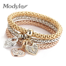Modyle 2017 Wedding Gold Color Bracelets & Bangles Bracelet for Women Metal Chain Bracelet Fashion Jewelry(China)