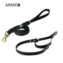 ARRKEO Adjustable 35~48 CM Leather Martingale Dog Collar Choke Collar with 120 CM Leather Dog Lead Leash for Small Dog Black