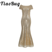 TiaoBug 2017 New Summer Gold Women Cap Sleeves Sequined Backless Bridesmaid Long Dress Wedding Party Gown Princess Dress