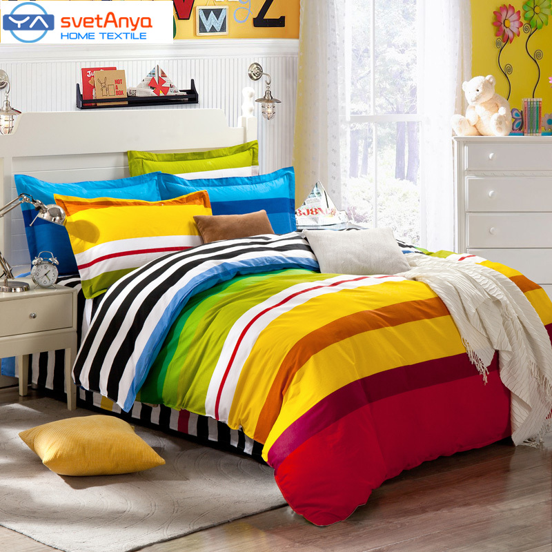 Rainbow Color Stripes Boys Bedding Set For Single Double Bed Flat Bedsheet Mattress Cover Duvet Case Pillowcases 4pc 5pc Sets