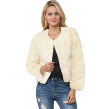 Plus Size S-3XL Genuine Rabbit Faux Fur Coat Women Jacket White Black Winter Slim Fluffy Shaggy Coats Ladies Overcoat Jackets(China)
