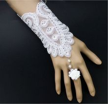 New Arrival Fashion CZ Diamond Lace Bridal Gloves with Flower Ring/Party Gloves and Ring Set 1197