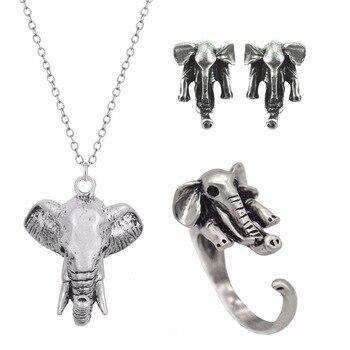 Kinitial Elephant Necklace Earrings Jewelry Set African Earrings Antique Silver/Bronze Teen Gift Trendy Dainty Jewelry