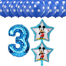 13pcs/lot Mickey Minnie Number 3 Foil Balloons Dot Latex Balloons Baby Shower 3rd Happy Birthday Party Decoration Air Balloons(China)